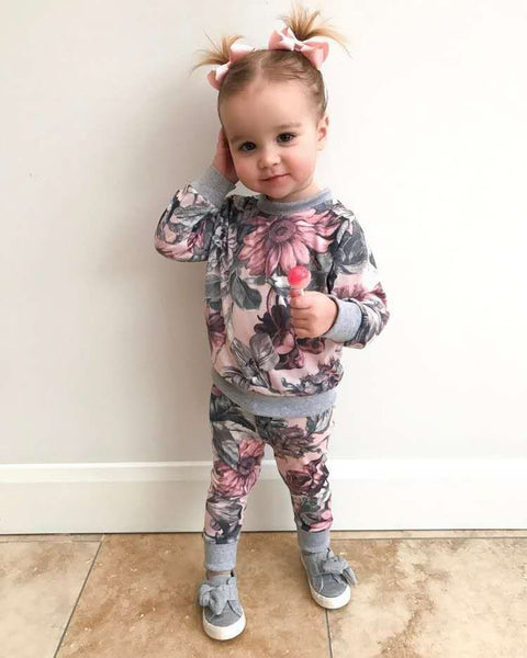2Pcs/Set Autumn Style Baby Girl Clothing Sets Newborn Clothes Leisure flower Pri