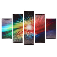 5Pcs Multicolor Light Beam Canvas Painting Wall Decorative Print Art Pictures Frameless Wall Hanging Decorations for Home Office