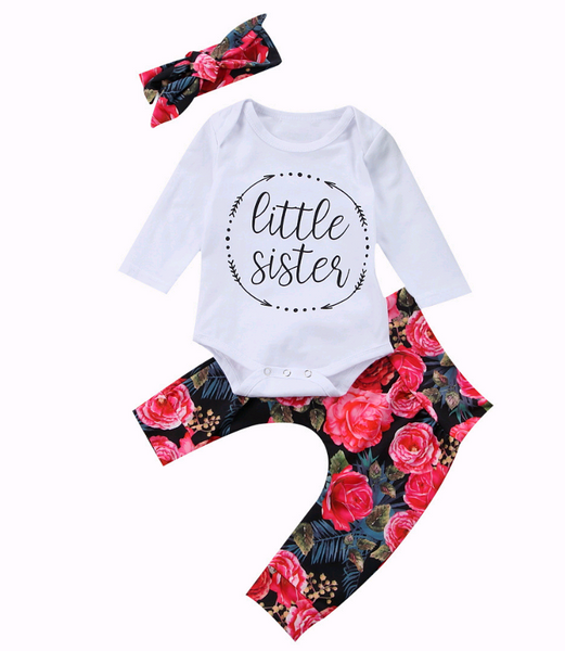 Girls autumn new style clothing set baby cotton long-sleeved + color hair band t