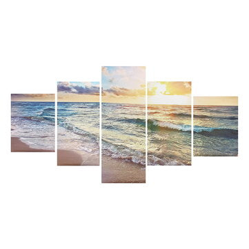 5 Panels Unframed Modern Canvas Seascape Sunrise Art Hanging Picture Room Wall Art Pictures Home Wall Decoration Supplies