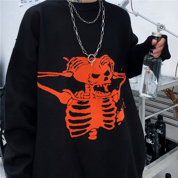 Knitted sweater coat skull