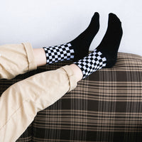 Cotton Men's Socks Black and White Houndstooth Plaid Classic Socks