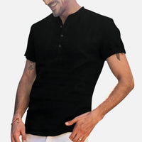 Stand-up collar cotton and linen short-sleeved shirt