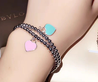 S925 Sterling Silver Heart Bracelet and green peach pink al