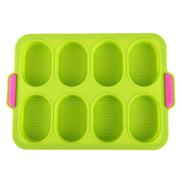 8 Cup Holes Non-Stick Cupcake Baking Pan Silicone Mold 3D French Bread DIY Kitchen Supplies