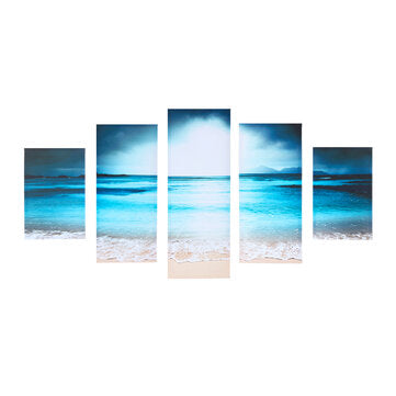 5Pcs Canvas Print Paintings Seaside Sunset Wall Decorative Print Art Pictures Wall Hanging Decorations for Home Office