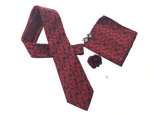 Mens fancy business polyester woven gift necktie sets with cufflink with hanky