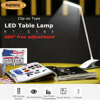 REMAX Dimmable Table Lamp USB LED Night Light Clip-On Desk Table Bed Reading Lighting