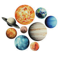 9Pcs/set Planet Stickers Solar System Planets Wall Stickers Wall Decal Home Living Room Kids Room Baby Nursery Decorations