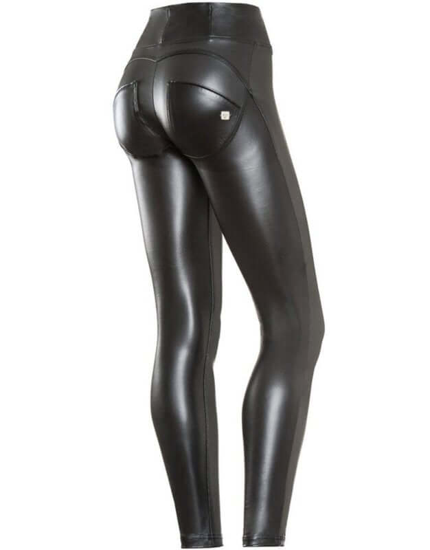 Black Leather effect Highrise Freddy Jeans - Style Gallery Clothing