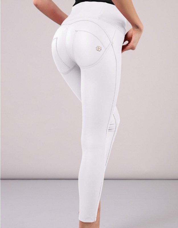 White Leather effect Highrise Freddy Jeans - Style Gallery Clothing