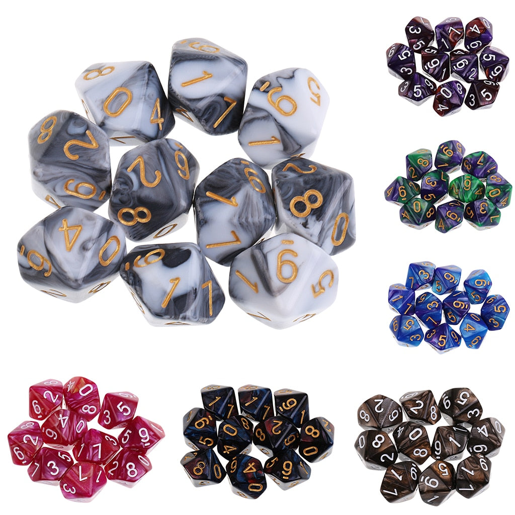 Marbled Fury 10Pcs 10 Sided Dice Set
