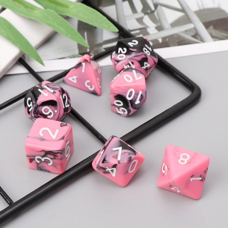 Gothic Pink 7pcs Dice Set