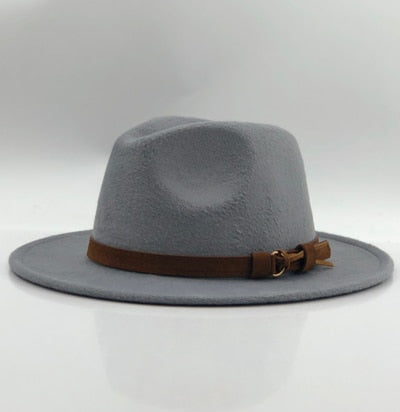 Unisex Wool Fedora Hat With Leather Ribbon