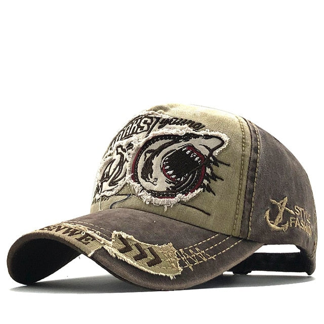Shark Embroidery 100% Cotton Baseball Cap