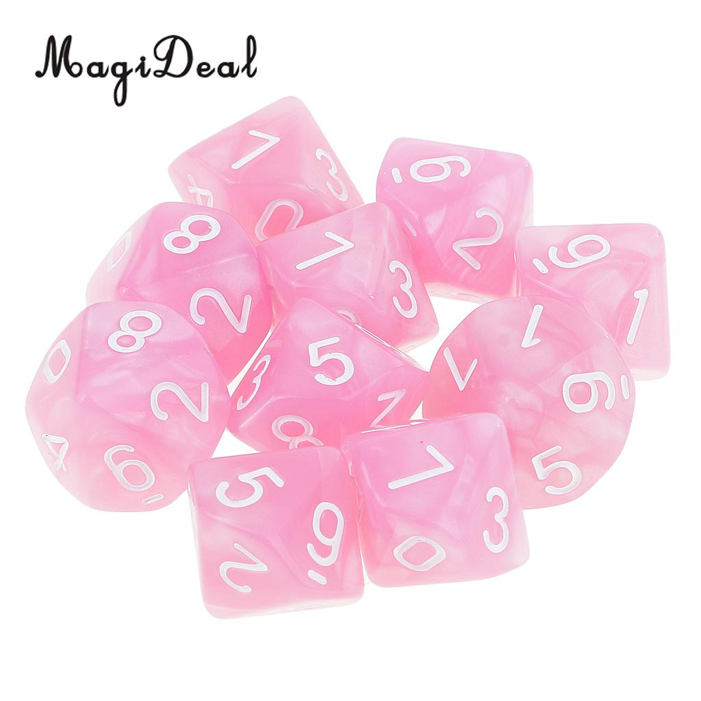 Hot Pink 10pcs 10 Sided Dice Set