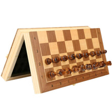 Load image into Gallery viewer, Magnetic Wooden Folding Chess Set with Felted Interior