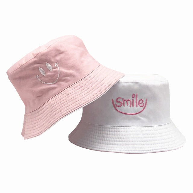 SMILE Hat Double Sided Bucket Hip Hop Hat