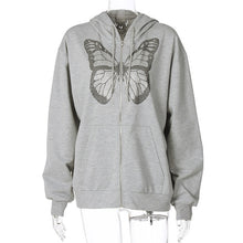 Load image into Gallery viewer, Oversized Butterfly Graphic Rhinestone Zip Up Hoodies