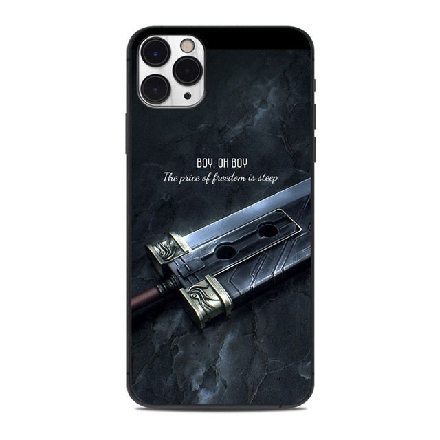 Black TPU Final Fantasy VII New Game Continue Phone Case for iphone11