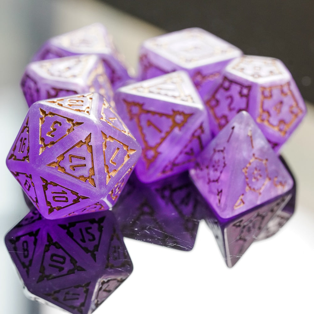 Violet Fortress 7 Pcs 25mm Giant Dice Set with Wooden Box