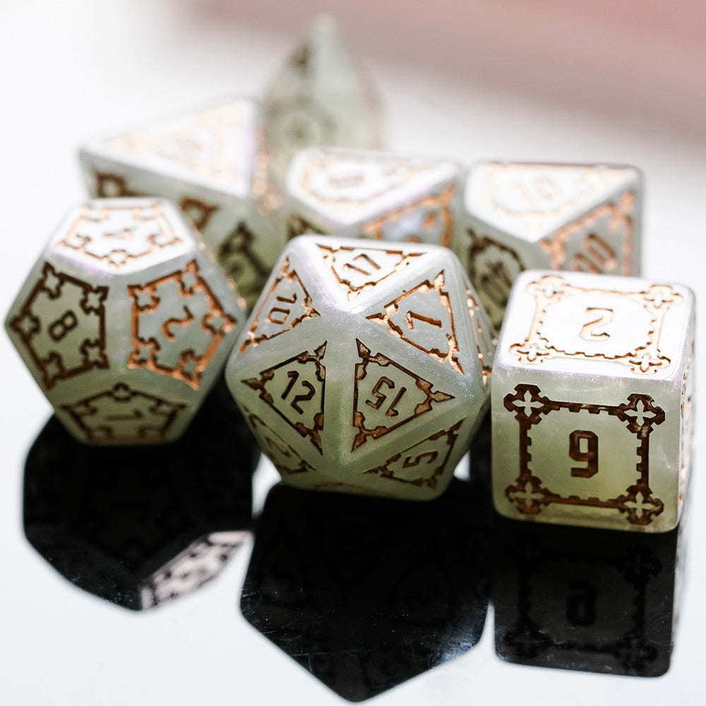 Ivory Fortress 7 Pcs 25mm Giant DND Dice with Wooden Box