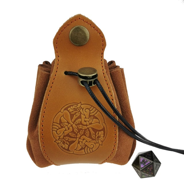 Handmade  Leather Dice Bag  with Yggdrasil Logo
