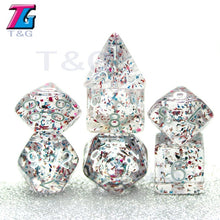 Load image into Gallery viewer, Crystal Mana Transparent Glitter 7pc Dice Set