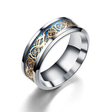 Load image into Gallery viewer, Stainless Steel Carbon Fiber Black Dragon Inlay Rings