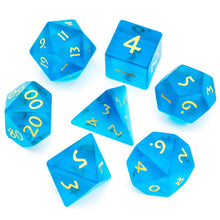Load image into Gallery viewer, Elemental Blue Frosted Glass Gemstone 7pc Dice Set
