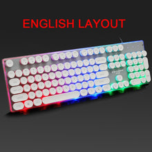 Load image into Gallery viewer, Backlit Retro  Gaming Round Glowing Keycap Keyboard