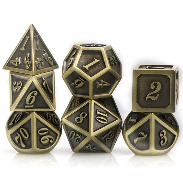 Gilted Glory 7pc Metal DnD Dice Set