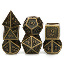 Load image into Gallery viewer, Gilted Glory 7pc Metal DnD Dice Set
