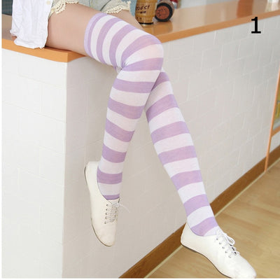 Girls Over Knee Thigh High Striped Cotton Socks - Youdreamwebring