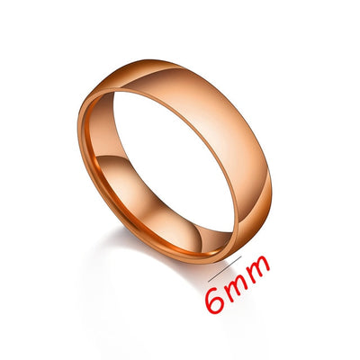 Letdiffery Smooth Stainless Steel Couple Rings Gold Simple 4MM Women Men Lovers Wedding Jewelry Engagement Gifts - Youdreamwebring