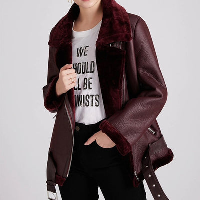 Women Thick Faux Leather Fur Sheepskin Coat - Youdreamwebring