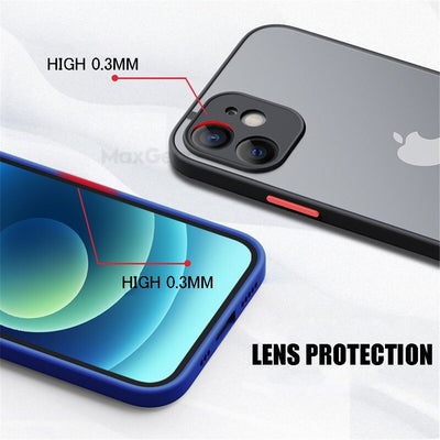 Shockproof Armor Matte Case For iPhone 12 11 Pro Xs Max XR X 6 7 8 Plus SE Mini Luxury Silicone Bumper Clear Hard PC Cover Funda - Youdreamwebring