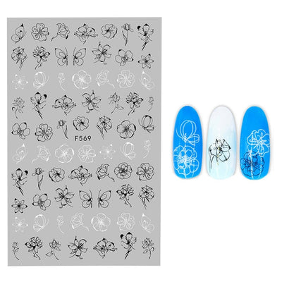 3D Flower Nail Stickers Women Face Sketch Abstract Butterfly Image Sexy Girl Nail Art Decor Sliders Manicure Stickers for Nails - Youdreamwebring