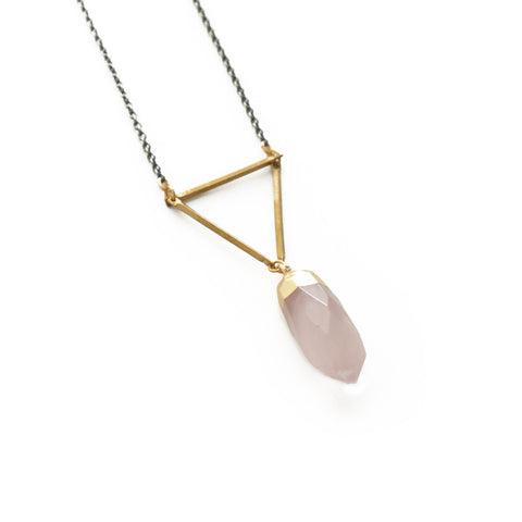 Gemme Necklace in Rose Quartz