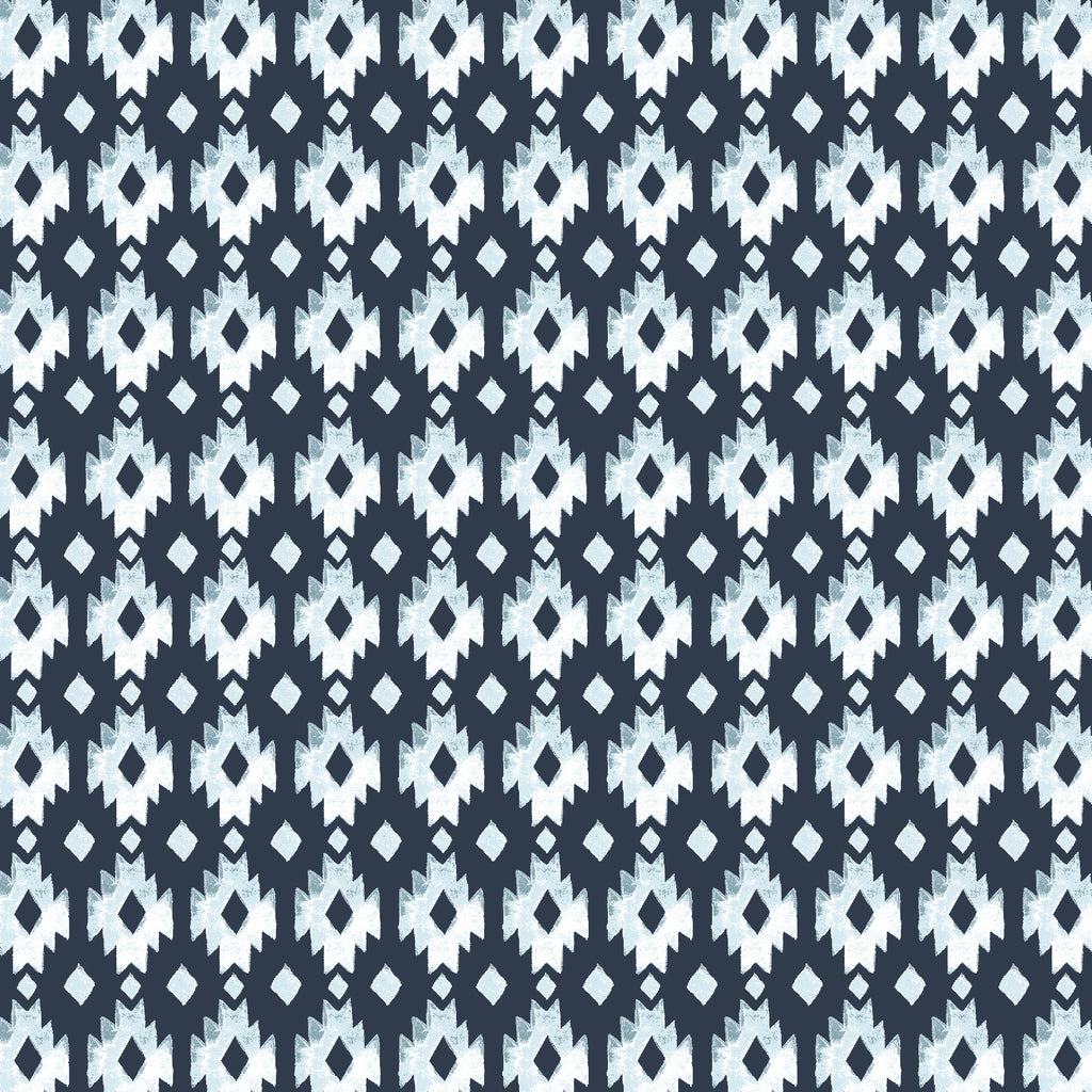 Aztec Diamond Organic Fabric. Geometric indigo blue and white diamonds in a Southwest style.
