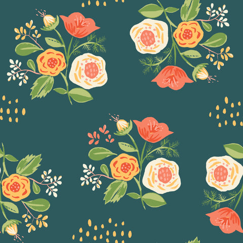 Bouquet on Teal Poplin