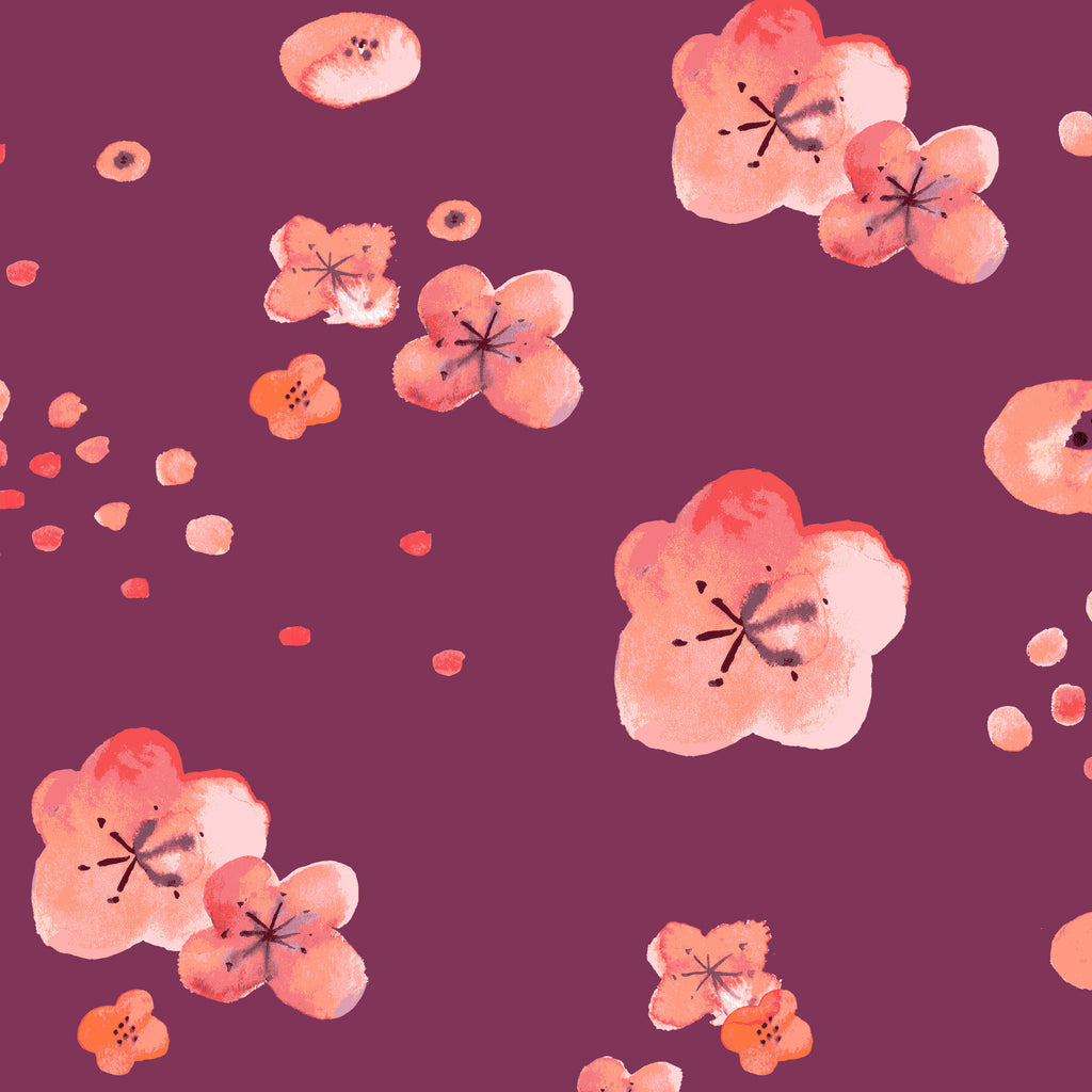 Cherry Blossoms Organic Fabric by Monaluna