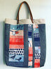 Patchwork tote in blues and corals. Journey Organic Fabric by Monaluna