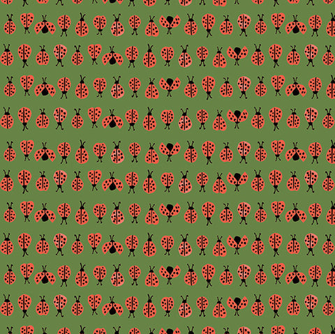 Ladybugs Green Poplin
