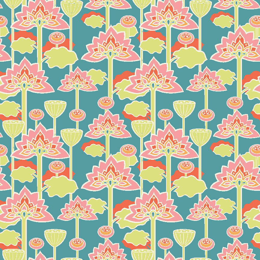 Lotus Blossom Organic Fabric by Monaluna