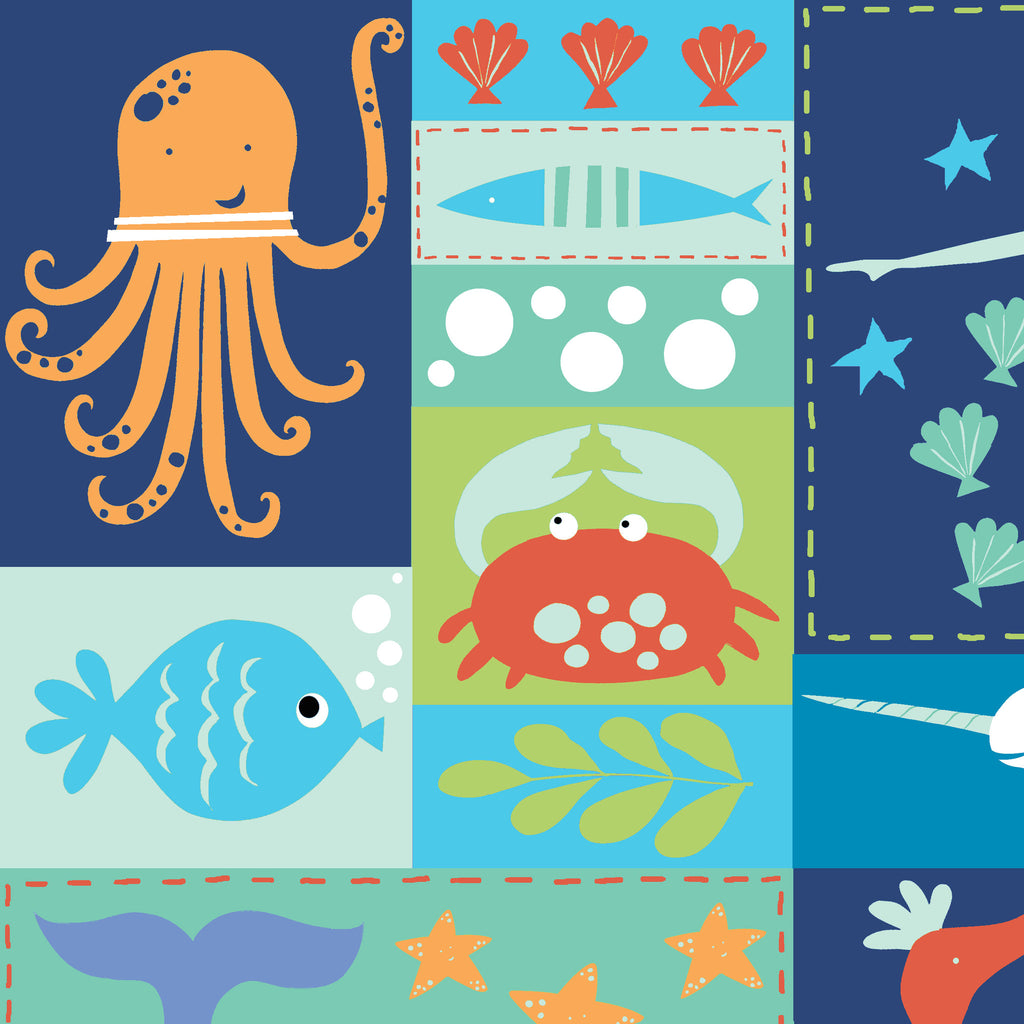 Sea Life Patchwork Organic Fabric by Monaluna
