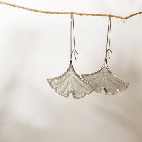 Silver Ginkgo Earrings by Larissa Loden