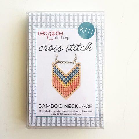 Cross Stitch Necklace Kit- Bamboo Chevron