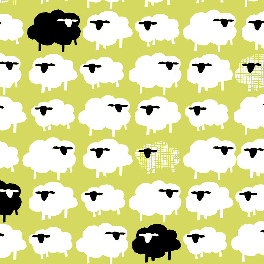 Bah Bah Black Sheep Organic Fabric by Monaluna