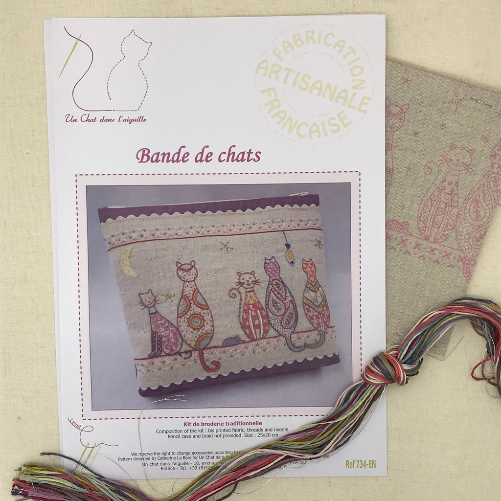 French Embroidery Kit - Band of Cats